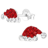 Crystal Santa Hat 925 Sterling Silver Stud Earrings