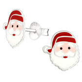 Santa Claus Face 925 Sterling Silver Stud Earrings