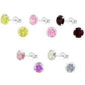 Large 6mm CZ 925 Sterling Silver Stud Earrings