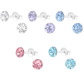 5mm Crystal Top 925 Sterling Silver Stud Earrings
