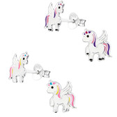 Unicorn Angel 925 Sterling Silver Stud Earrings
