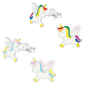 Unicorn w/Glitter Wings 925 Sterling Silver Stud Earrings