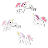 Prancing Unicorn 925 Sterling Silver Stud Earrings