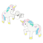 Pastel Unicorn 925 Sterling Silver Stud Earrings