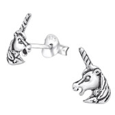 Oxidized Unicorn 925 Sterling Silver Stud Earrings