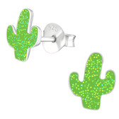 Glitter Cactus 925 Sterling Silver Stud Earrings