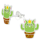 Cactus Cat 925 Sterling Silver Stud Earrings