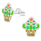 Cool as a Cactus 925 Sterling Silver Stud Earrings