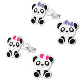 Pretty Panda Bear 925 Sterling Silver Stud Earrings