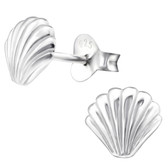 Silver Seashell 925 Sterling Silver Stud Earrings