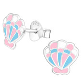 Pastel Seashell 925 Sterling Silver Stud Earrings