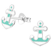 Two-Tone Anchor 925 Sterling Silver Stud Earrings