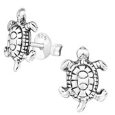 Oxidized Turtle 925 Sterling Silver Stud Earrings