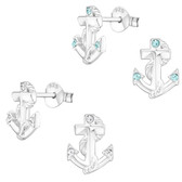 Triple Crystal Anchor 925 Sterling Silver Stud Earrings