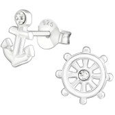 Anchor & Ship's Wheel 925 Sterling Silver Stud Earrings