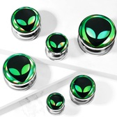 "Green/Black Alien Hologram Screw-Fit Tunnels (2g-5/8"")"
