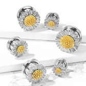 "Daisy Flower Steel Screw-Fit Tunnels (2g-5/8"")"