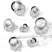 "Crystal Teardrop Filigree Steel Tunnels (4g-5/8"")"