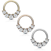 Five-CZ Bendable Brass Cartilage/Septum Hoop