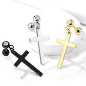 Cross Dangle Steel Cartilage Tragus Stud 16G
