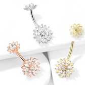 Marquise CZ Lotus Flower Steel Belly Ring