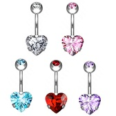 Heart CZ Bottom G23 Titanium Belly Ring
