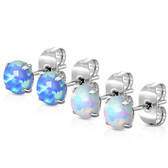 2 Pair Prong Set Synthetic Opal Steel Stud Earrings