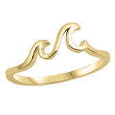 Double Wave Design Gold 925 Sterling Silver Ring