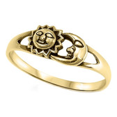 Celestial Sun & Moon Faces Gold 925 Sterling Silver Ring