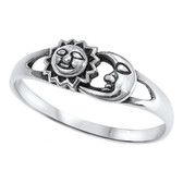 Celestial Sun & Moon Faces 925 Sterling Silver Ring