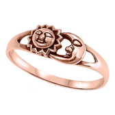 Sun & Moon Faces Rose Gold 925 Sterling Silver Ring