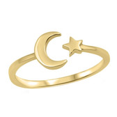 Crescent Moon & Star Gold 925 Sterling Silver Ring