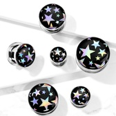 "Super Stars Hologram Screw-Fit Tunnels (2g-5/8"")"