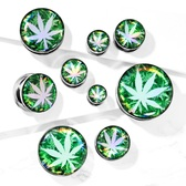 "Pot Leaf Hologram Screw-Fit Tunnels (2g-1"")"