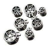 "Antique Pentagram Drip Steel Screw Tunnels (2g-5/8"")"