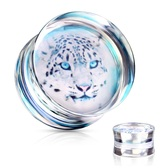 "Snow Leopard Double Flared Acrylic Plugs (2g-1"")"