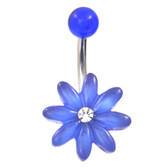 Blue Acrylic Daisy Flower Belly Ring