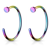 2PC 20G-18G Rainbow G23 Titanium Nose Ring Hoops