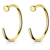2PC 20G-18G Goldtone G23 Titanium Nose Ring Hoops