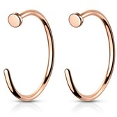 2PC 20G-18G Rose Gold G23 Titanium Nose Ring Hoops