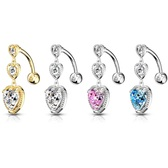 Top Down Triple Heart Drop Steel Belly Ring