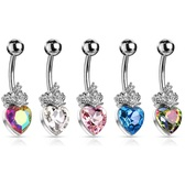 Princess Heart Surgical Steel Belly Ring