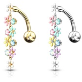 Top Down Enamel Flowers Steel Belly Ring