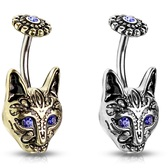 Tribal Cat Steel/Brass Belly Ring