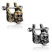 Antique Winged Skull Steel Cartilage/Helix Cuff 16G