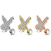 CZ Paved Playboy Bunny Steel Cartilage Tragus Stud