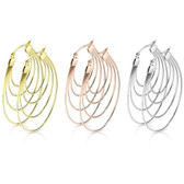 Oval Layers Surgical Steel Hoop Earrings