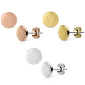 Brushed Circle Top Steel Stud Earrings