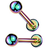 2PC 20G-16G Ball Push Top Rainbow Labret Studs