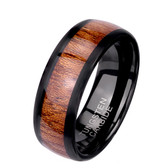 Brown Wood Inlay 8mm Black Tungsten Carbide Ring